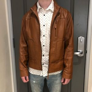 men's brown faux leather jacket